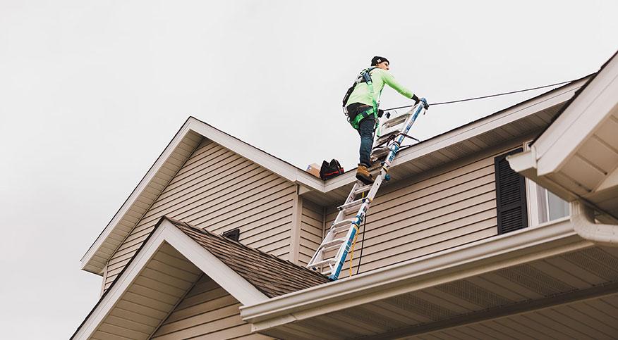 Solar Panel Installer On Roof